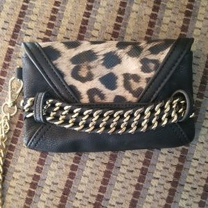 Cache Leopard and Gold Chain Envelope clutch wrist